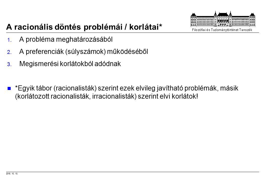 2015.10. 10. A racionális döntés problémái / korlátai* 1.