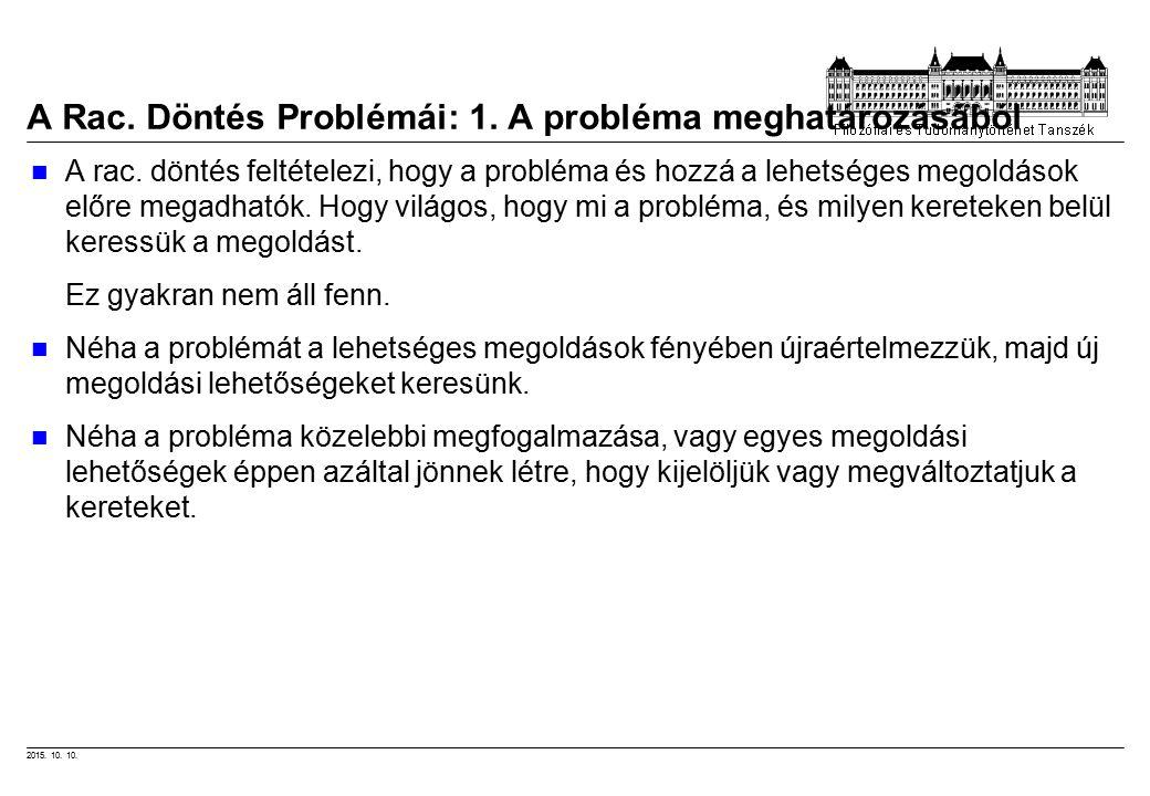 2015.10. 10. A Rac. Döntés Problémái: 1. A probléma meghatározásából A rac.