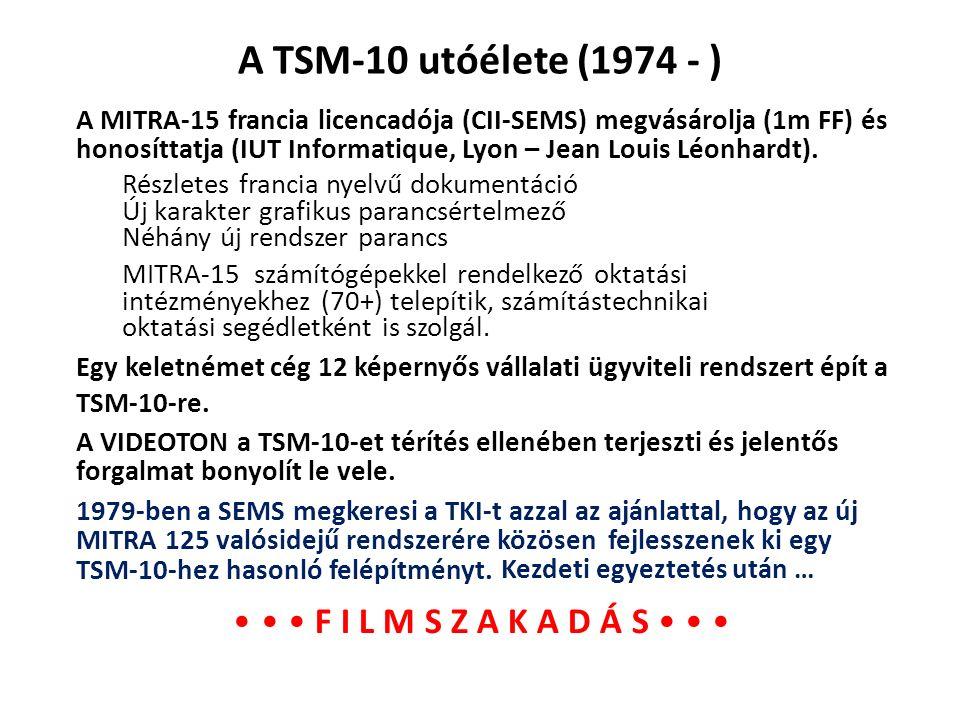 A TSM-10 utóélete (1974 - ) Részletes francia nyelvű dokumentáció Új karakter grafikus parancsértelmező Néhány új rendszer parancs A MITRA-15 francia
