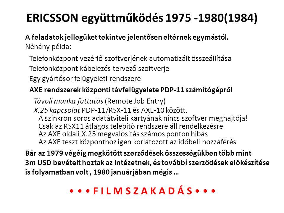 ERICSSON együttműködés 1975 -1980(1984) A feladatok jellegüket tekintve jelentősen eltérnek egymástól. Néhány példa: X.25 kapcsolat PDP-11/RSX-11 és A