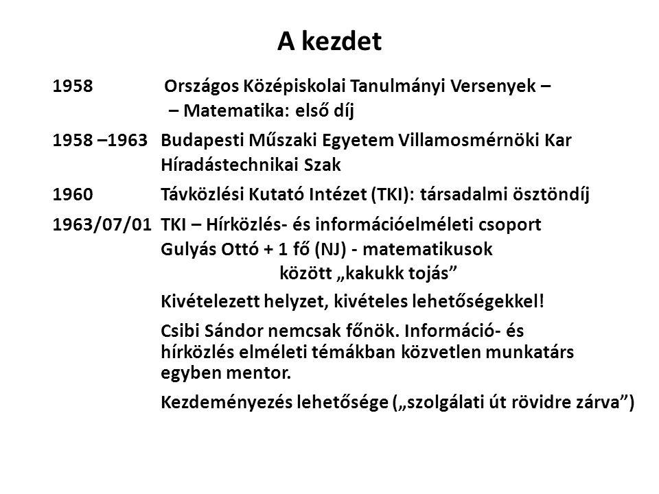 A kezdet Országos Középiskolai Tanulmányi Versenyek – – Matematika: első díj 1958 Budapesti Műszaki Egyetem Villamosmérnöki Kar Híradástechnikai Szak