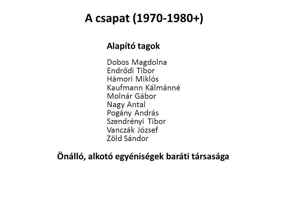 A csapat (1970-1980+) Dobos Magdolna Nagy Antal Hámori Miklós Endrődi Tibor Pogány András Molnár Gábor Kaufmann Kálmánné Zöld Sándor Vanczák József Sz