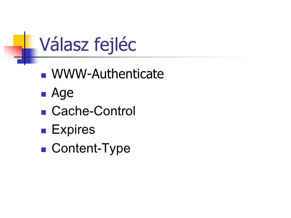 Válasz fejléc WWW-Authenticate Age Cache-Control Expires Content-Type