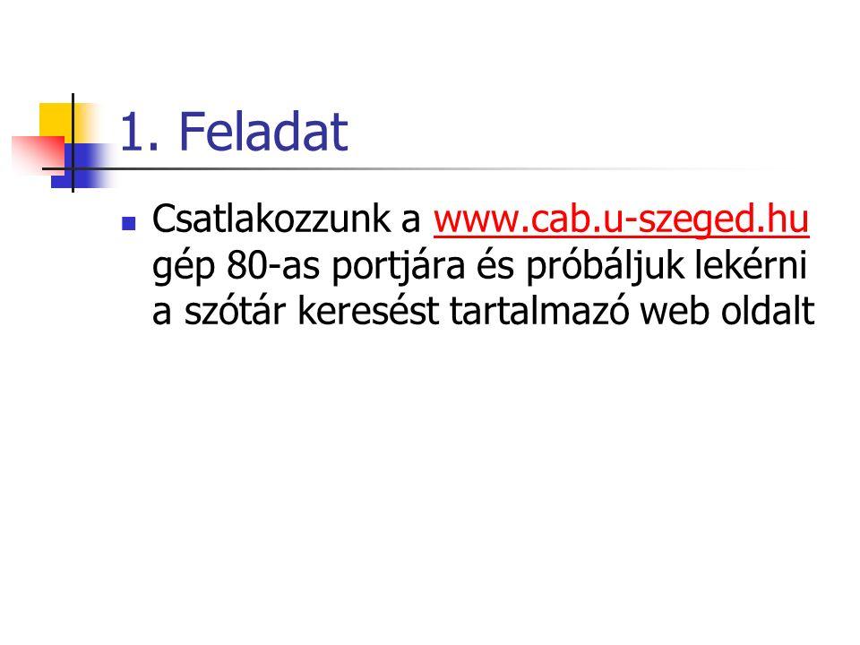 1. Feladat Csatlakozzunk a www.cab.u-szeged.hu gép 80-as portjára és próbáljuk lekérni a szótár keresést tartalmazó web oldaltwww.cab.u-szeged.hu