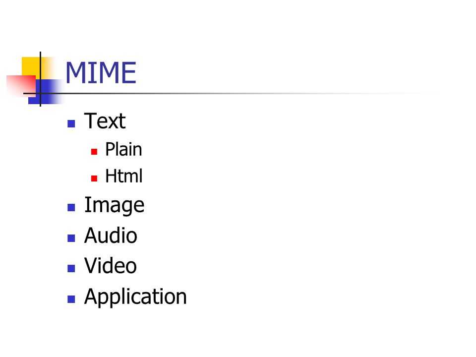 MIME Text Plain Html Image Audio Video Application