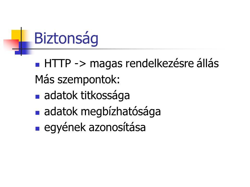 Biztonság HTTP -> magas rendelkezésre állás Más szempontok: adatok titkossága adatok megbízhatósága egyének azonosítása