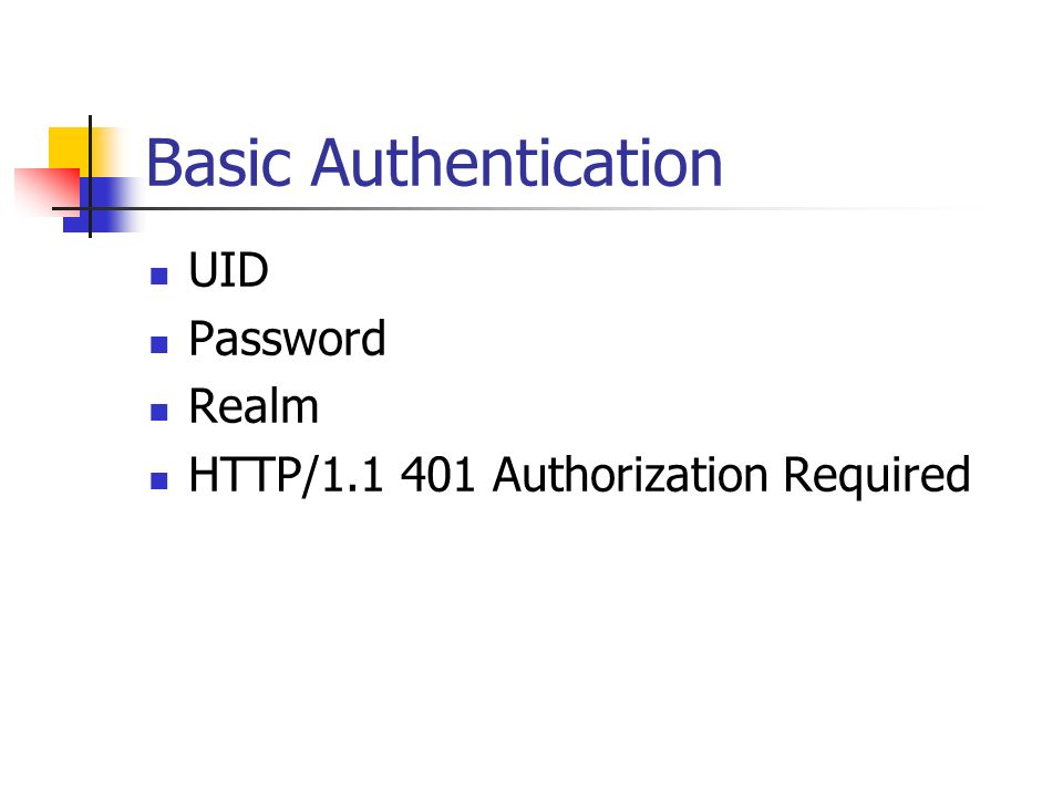 Basic Authentication UID Password Realm HTTP/1.1 401 Authorization Required
