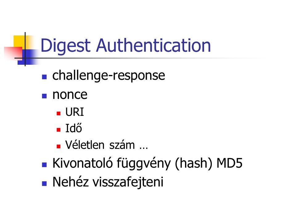Digest Authentication challenge-response nonce URI Idő Véletlen szám … Kivonatoló függvény (hash) MD5 Nehéz visszafejteni