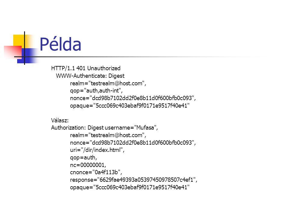 Példa HTTP/1.1 401 Unauthorized WWW-Authenticate: Digest realm= testrealm@host.com , qop= auth,auth-int , nonce= dcd98b7102dd2f0e8b11d0f600bfb0c093 , opaque= 5ccc069c403ebaf9f0171e9517f40e41 Válasz: Authorization: Digest username= Mufasa , realm= testrealm@host.com , nonce= dcd98b7102dd2f0e8b11d0f600bfb0c093 , uri= /dir/index.html , qop=auth, nc=00000001, cnonce= 0a4f113b , response= 6629fae49393a05397450978507c4ef1 , opaque= 5ccc069c403ebaf9f0171e9517f40e41