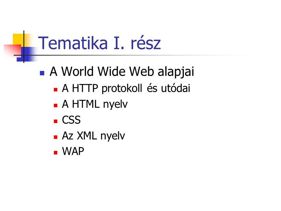 Tematika I. rész A World Wide Web alapjai A HTTP protokoll és utódai A HTML nyelv CSS Az XML nyelv WAP