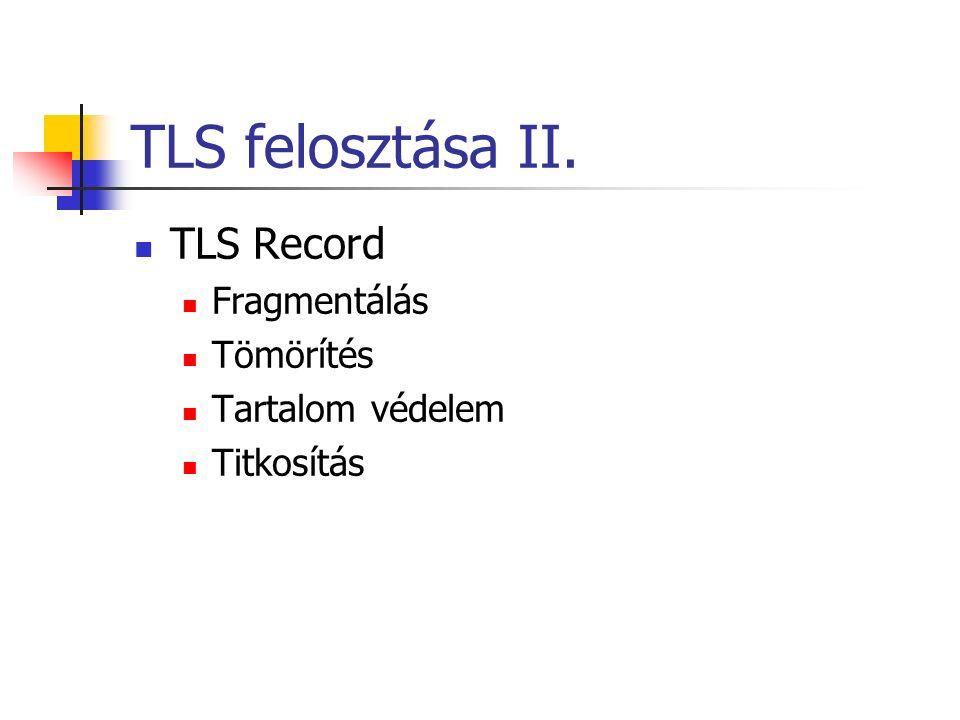 TLS felosztása II. TLS Record Fragmentálás Tömörítés Tartalom védelem Titkosítás