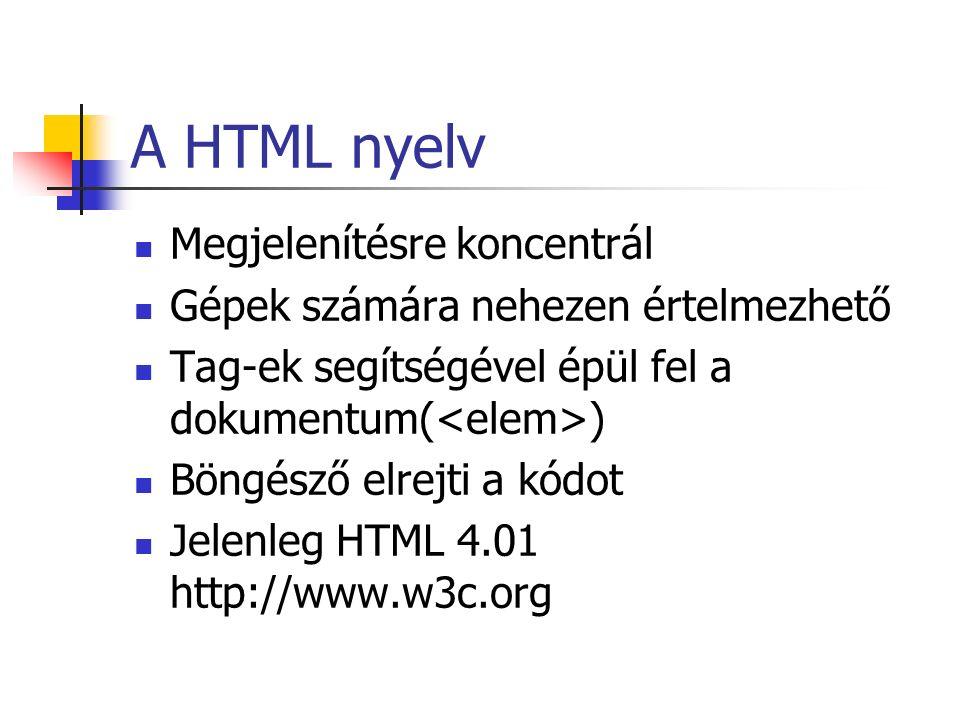 A HTML nyelv Megjelenítésre koncentrál Gépek számára nehezen értelmezhető Tag-ek segítségével épül fel a dokumentum( ) Böngésző elrejti a kódot Jelenl