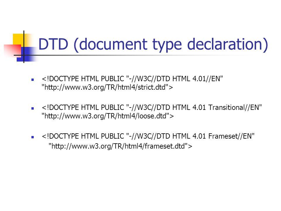 DTD (document type declaration) <!DOCTYPE HTML PUBLIC -//W3C//DTD HTML 4.01 Frameset//EN http://www.w3.org/TR/html4/frameset.dtd >