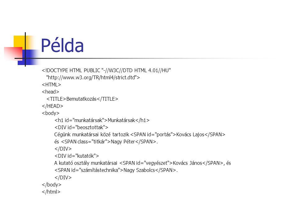 Példa <!DOCTYPE HTML PUBLIC -//W3C//DTD HTML 4.01//HU http://www.w3.org/TR/html4/strict.dtd > Bemutatkozás Munkatársak Cégünk munkatársai közé tartozik Kovács Lajos és Nagy Péter.