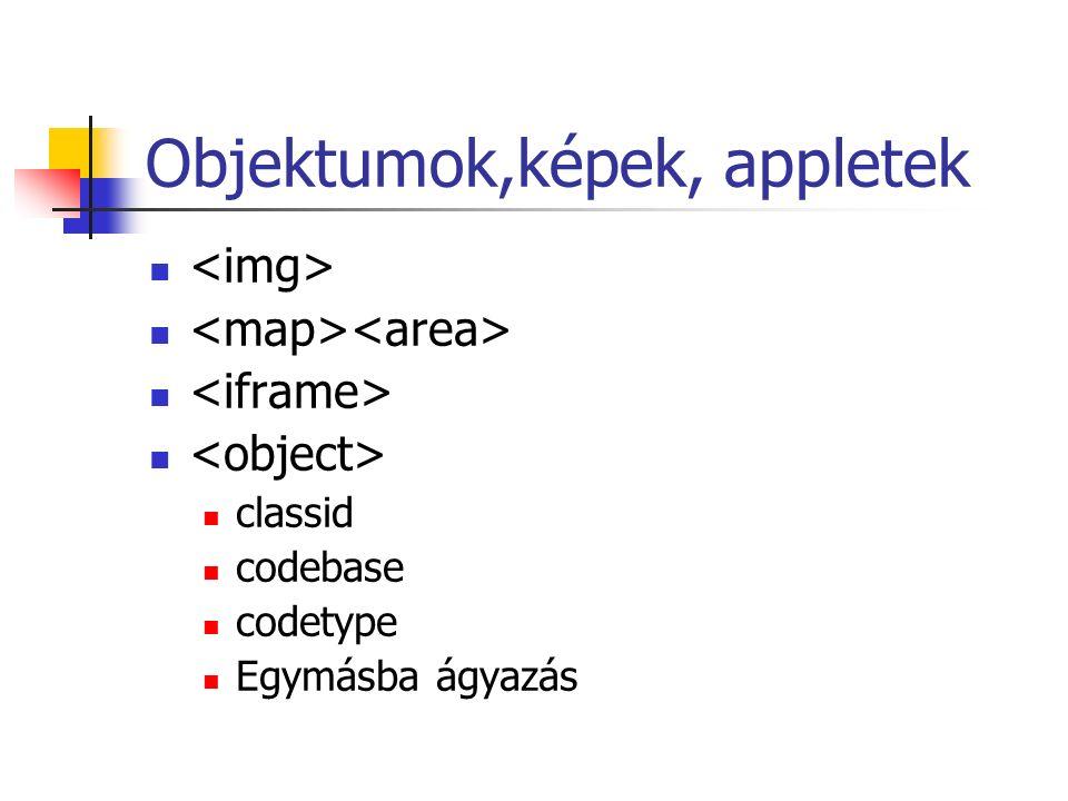 Objektumok,képek, appletek classid codebase codetype Egymásba ágyazás