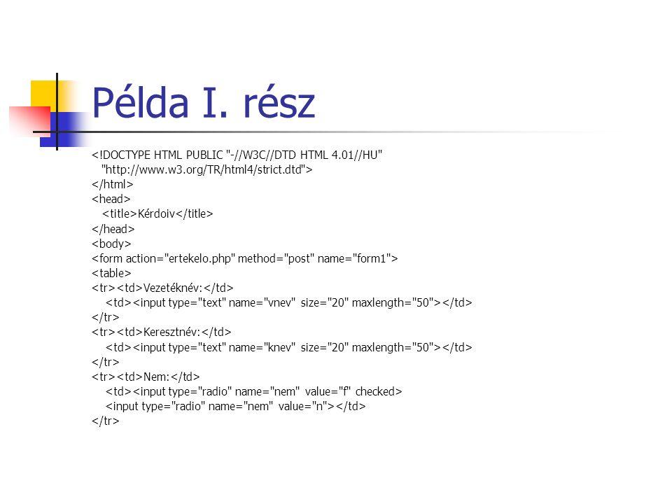 Példa I. rész <!DOCTYPE HTML PUBLIC
