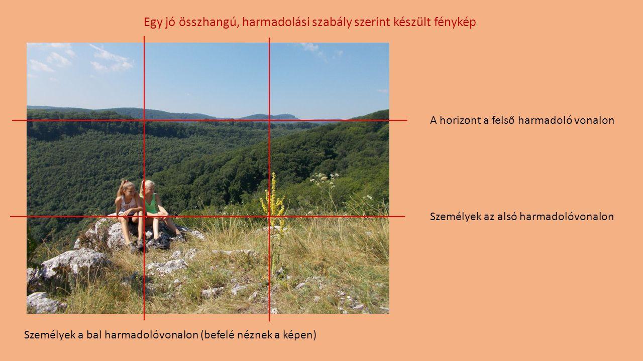 A horizont a felső harmadoló vonalon Személyek a bal harmadolóvonalon (befelé néznek a képen) Személyek az alsó harmadolóvonalon Egy jó összhangú, harmadolási szabály szerint készült fénykép