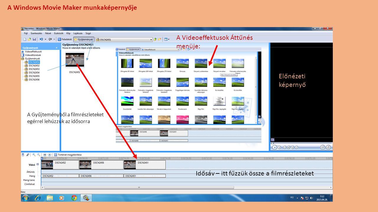 A Windows Movie Maker munkaképernyője A Gyűjteményből a filmrészleteket egérrel lehúzzuk az idősorra Idősáv – itt fűzzük össze a filmrészleteket A Videoeffektusok Áttűnés menüje: Előnézeti képernyő