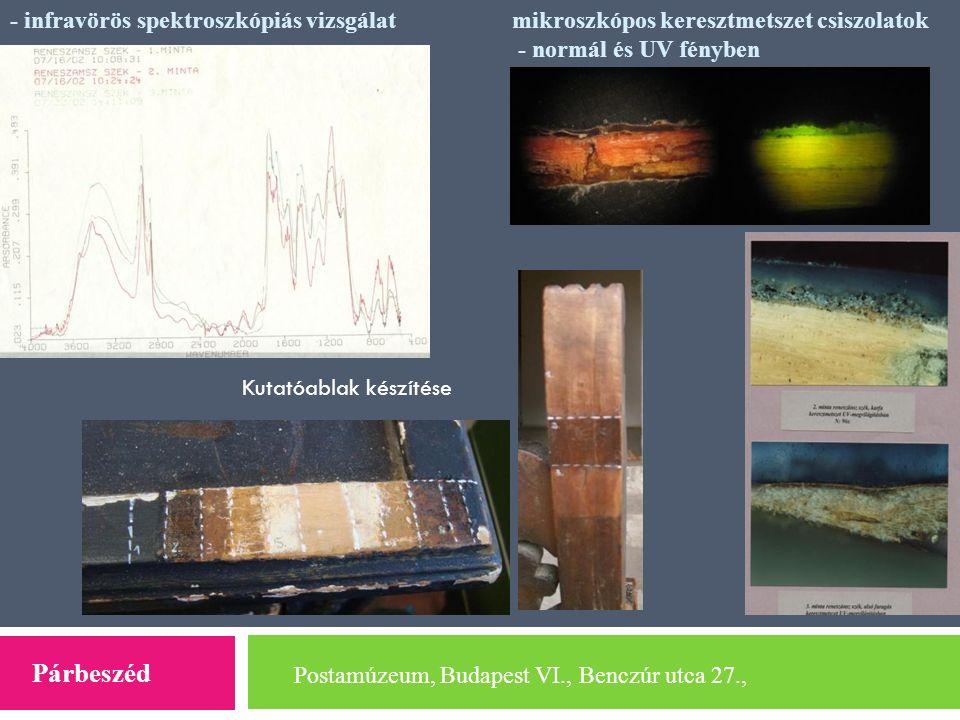 Postamúzeum, Budapest VI., Benczúr utca 27., Párbeszéd - infravörös spektroszkópiás vizsgálatmikroszkópos keresztmetszet csiszolatok - normál és UV fé