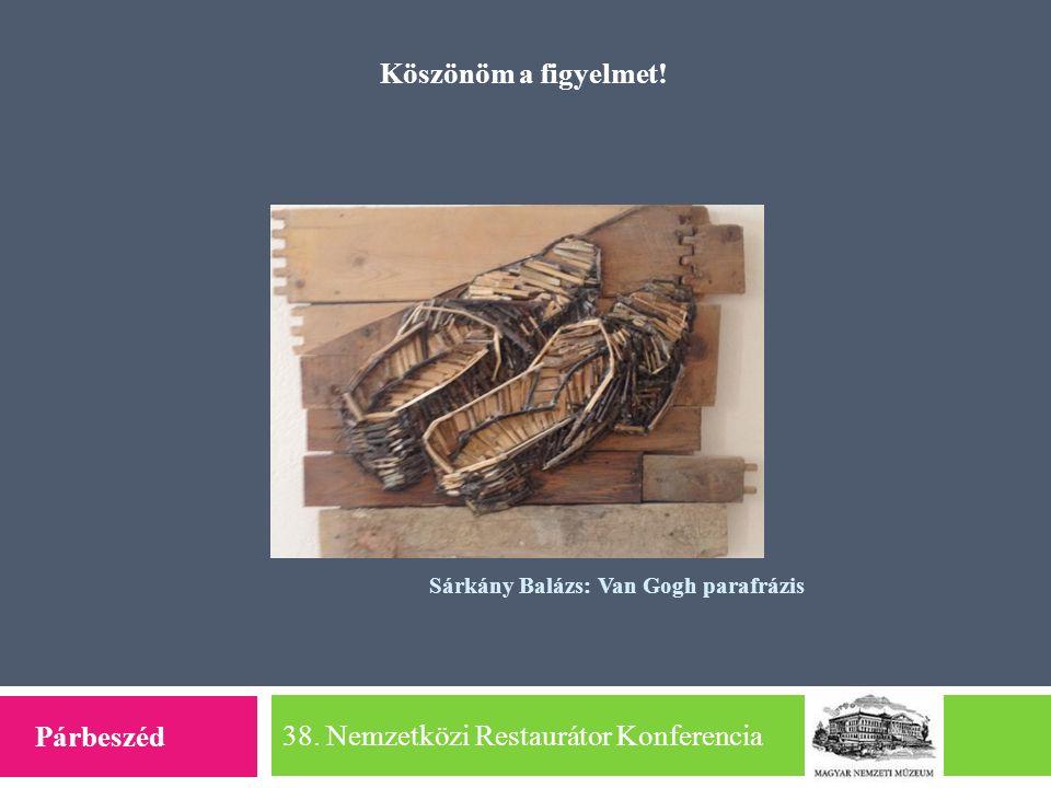 38. Nemzetközi Restaurátor Konferencia Köszönöm a figyelmet! Párbeszéd Sárkány Balázs: Van Gogh parafrázis