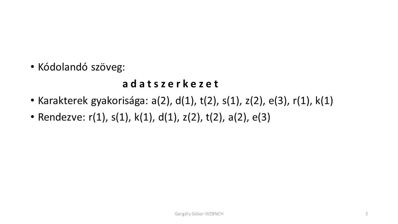 Kódolandó szöveg: adatszerkezet Karakterek gyakorisága: a(2), d(1), t(2), s(1), z(2), e(3), r(1), k(1) Rendezve: r(1), s(1), k(1), d(1), z(2), t(2), a(2), e(3) Gergály Gábor WZBNCH3