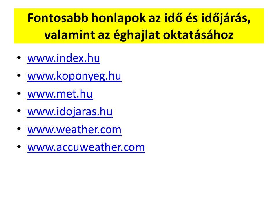 Fontosabb honlapok az idő és időjárás, valamint az éghajlat oktatásához www.index.hu www.koponyeg.hu www.met.hu www.idojaras.hu www.weather.com www.accuweather.com