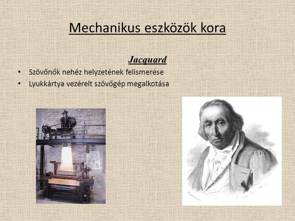 Mechanikus eszközök kora Jacquard Szövőnők nehéz helyzetének felismerése Lyukkártya vezérelt szövőgép megalkotása