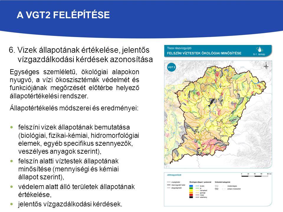 A VGT2 FELÉPÍTÉSE Állapotértékelés módszerei és eredményei: felszíni vizek állapotának bemutatása (biológiai, fizikai-kémiai, hidromorfológiai elemek, egyéb specifikus szennyezők, veszélyes anyagok szerint), felszín alatti víztestek állapotának minősítése (mennyiségi és kémiai állapot szerint), védelem alatt álló területek állapotának értékelése, jelentős vízgazdálkodási kérdések.