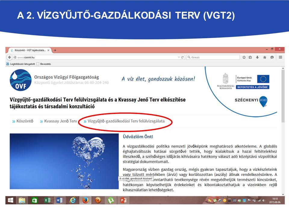 A 2. VÍZGYŰJTŐ-GAZDÁLKODÁSI TERV (VGT2)