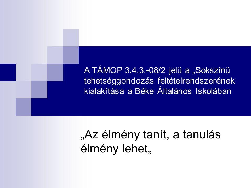 """A TÁMOP 3.4.3.-08/2 jelű a """"Sokszínű tehetséggondozás feltételrendszerének kialakítása a Béke Általános Iskolában """"Az élmény tanít, a tanulás élmény l"""