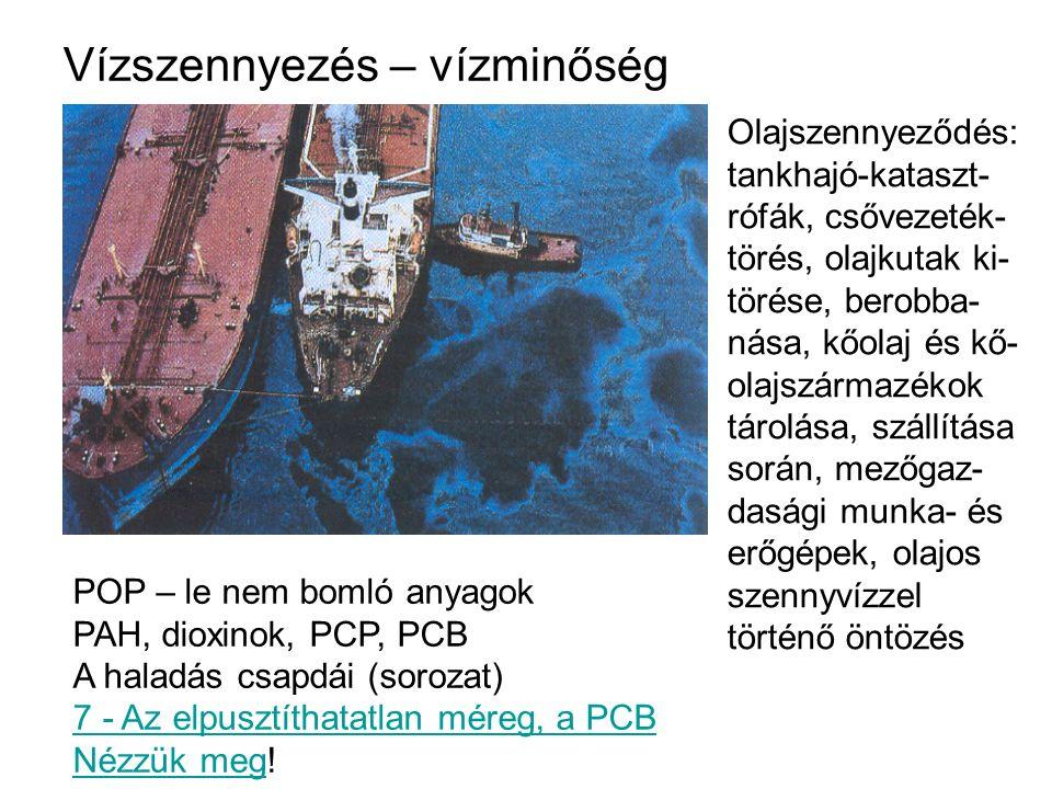 Vízszennyezés – vízminőség Olajszennyeződés: tankhajó-kataszt- rófák, csővezeték- törés, olajkutak ki- törése, berobba- nása, kőolaj és kő- olajszárma