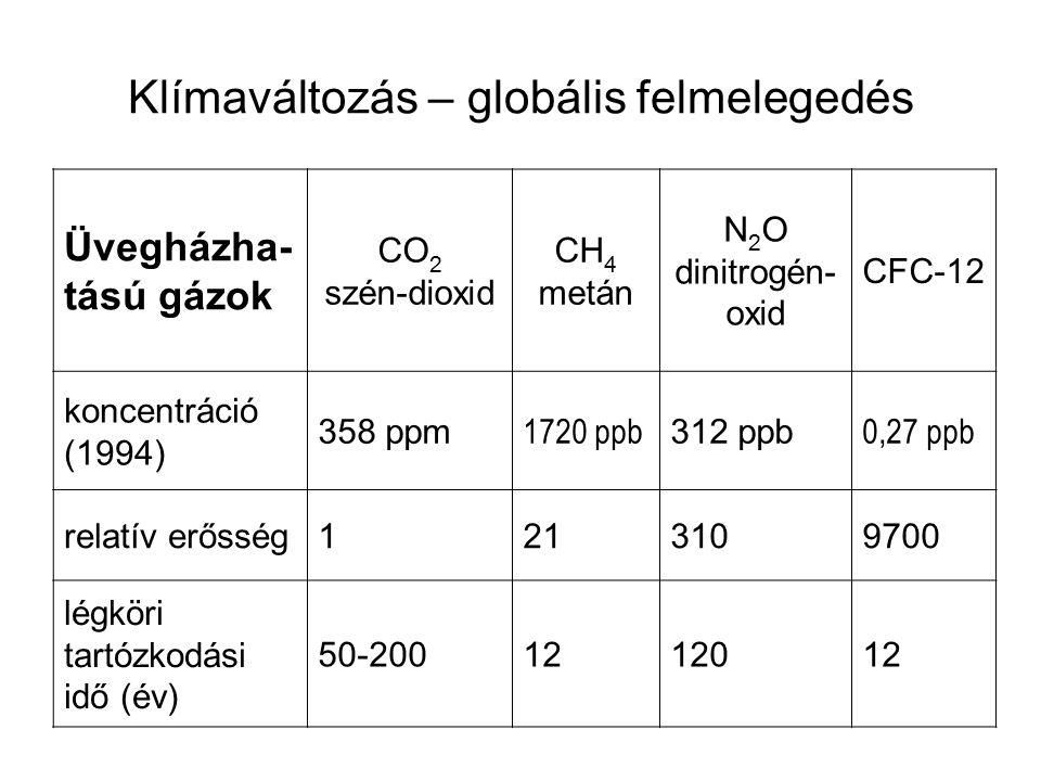 Üvegházha- tású gázok CO 2 szén-dioxid CH 4 metán N 2 O dinitrogén- oxid CFC-12 koncentráció (1994) 358 ppm 1720 ppb 312 ppb 0,27 ppb relatív erősség1