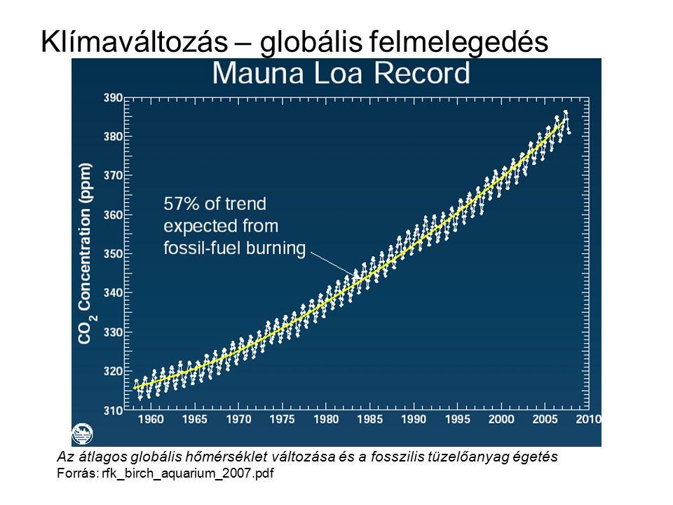 Klímaváltozás – globális felmelegedés Az átlagos globális hőmérséklet változása és a fosszilis tüzelőanyag égetés Forrás: rfk_birch_aquarium_2007.pdf