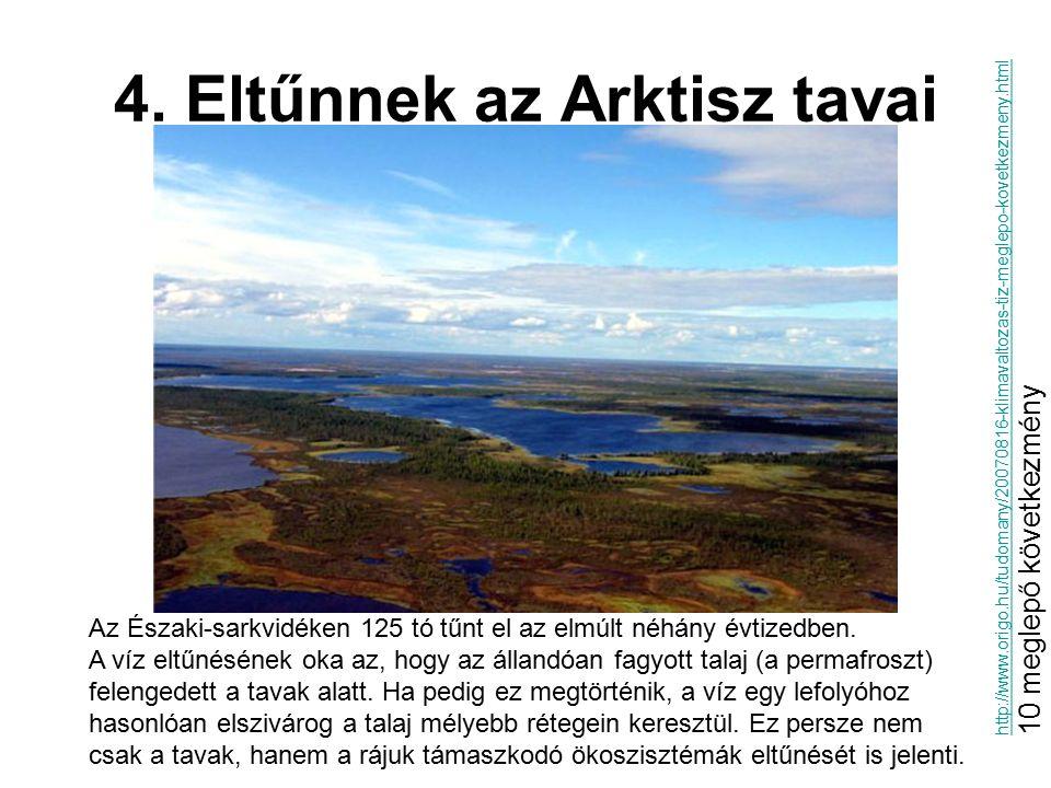 4. Eltűnnek az Arktisz tavai Az Északi-sarkvidéken 125 tó tűnt el az elmúlt néhány évtizedben. A víz eltűnésének oka az, hogy az állandóan fagyott tal