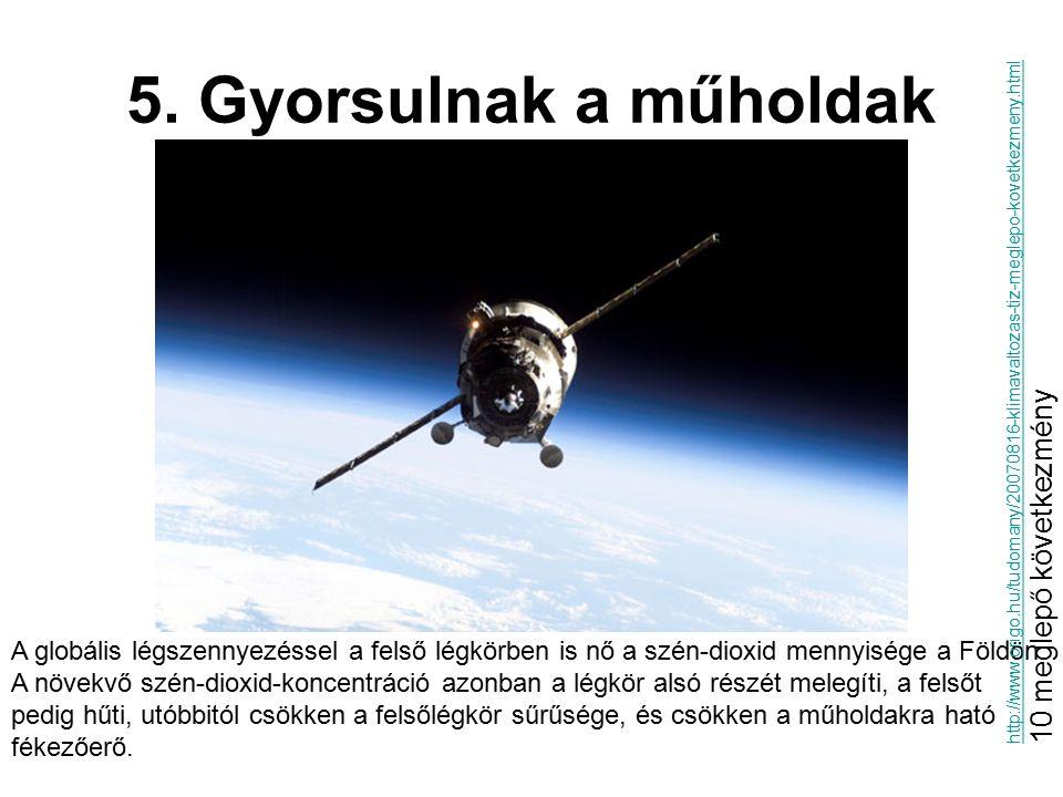 5. Gyorsulnak a műholdak A globális légszennyezéssel a felső légkörben is nő a szén-dioxid mennyisége a Földön. A növekvő szén-dioxid-koncentráció azo