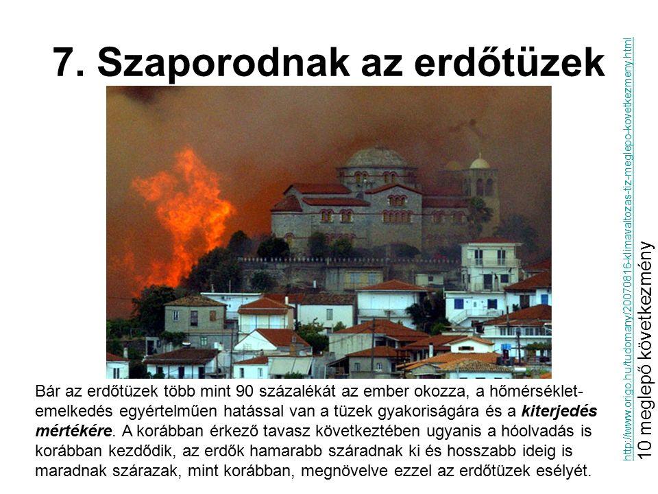 7. Szaporodnak az erdőtüzek Bár az erdőtüzek több mint 90 százalékát az ember okozza, a hőmérséklet- emelkedés egyértelműen hatással van a tüzek gyako