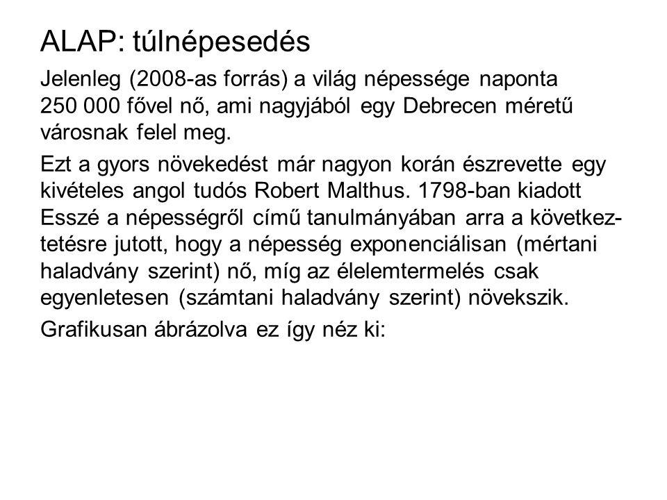 ALAP: túlnépesedés Jelenleg (2008-as forrás) a világ népessége naponta 250 000 fővel nő, ami nagyjából egy Debrecen méretű városnak felel meg. Ezt a g