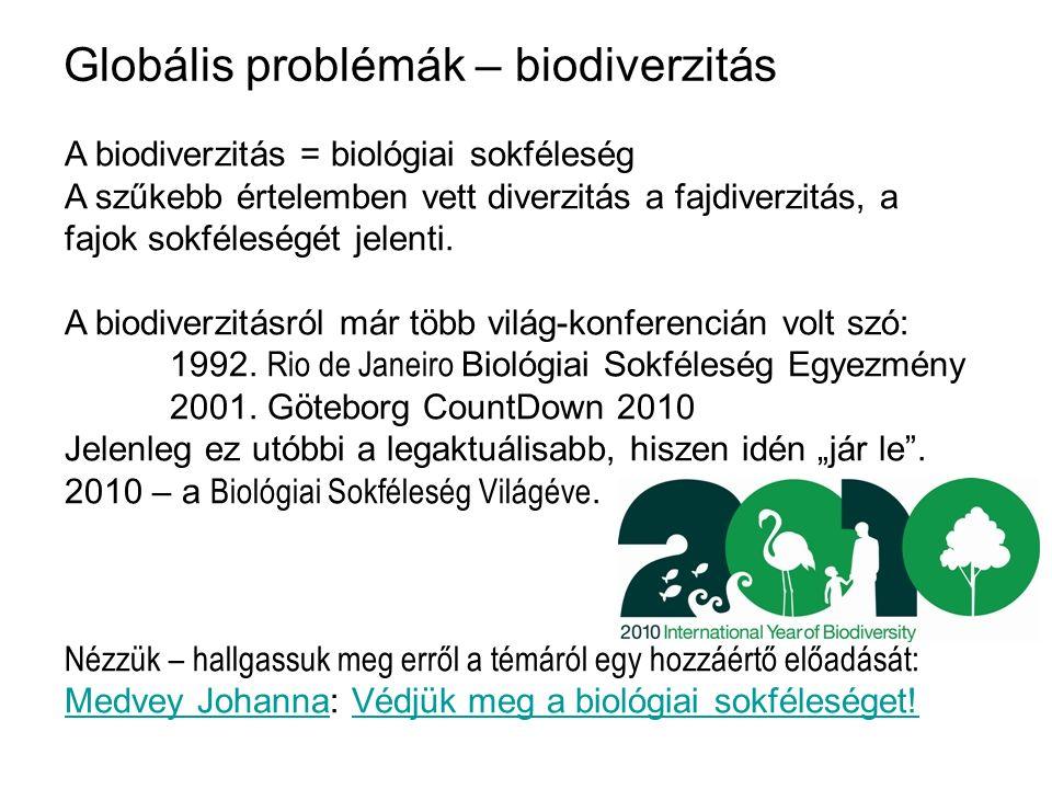 Globális problémák – biodiverzitás A biodiverzitás = biológiai sokféleség A szűkebb értelemben vett diverzitás a fajdiverzitás, a fajok sokféleségét j
