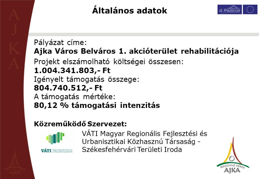 Általános adatok Pályázat címe: Ajka Város Belváros 1. akcióterület rehabilitációja Projekt elszámolható költségei összesen: 1.004.341.803,- Ft Igénye