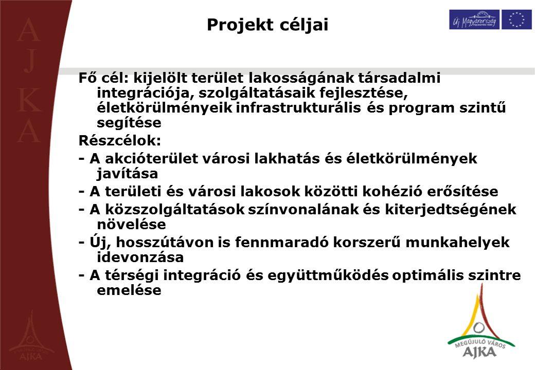 Projekt céljai Fő cél: kijelölt terület lakosságának társadalmi integrációja, szolgáltatásaik fejlesztése, életkörülményeik infrastrukturális és progr