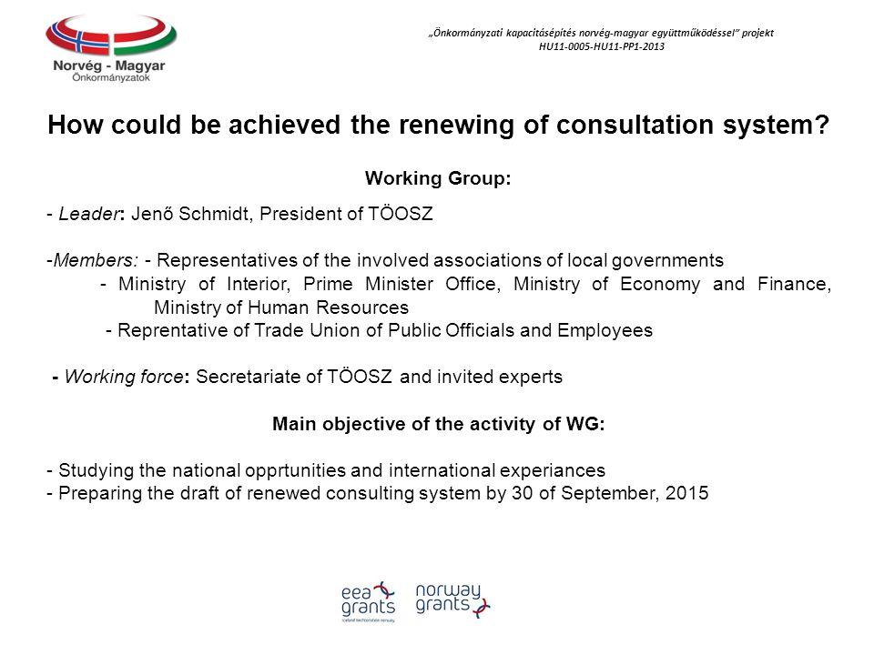 """""""Önkormányzati kapacitásépítés norvég‐magyar együttműködéssel"""" projekt HU11-0005-HU11-PP1-2013 How could be achieved the renewing of consultation syst"""