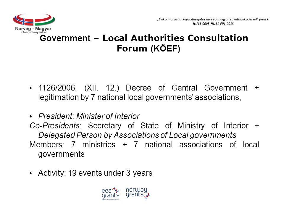 """""""Önkormányzati kapacitásépítés norvég‐magyar együttműködéssel projekt HU11-0005-HU11-PP1-2013 National Cooperation Forum of Local Governments (ÖNEF) - By the Act of 2010."""