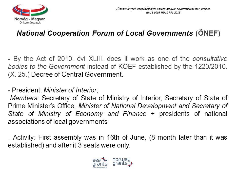 """""""Önkormányzati kapacitásépítés norvég‐magyar együttműködéssel projekt HU11-0005-HU11-PP1-2013 National Cooperation Council of Local Governments (ÖNET) - By the Act of 2010."""