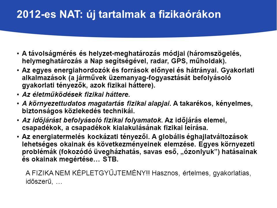 2012-es NAT: új tartalmak a fizikaórákon A távolságmérés és helyzet-meghatározás módjai (háromszögelés, helymeghatározás a Nap segítségével, radar, GPS, műholdak).