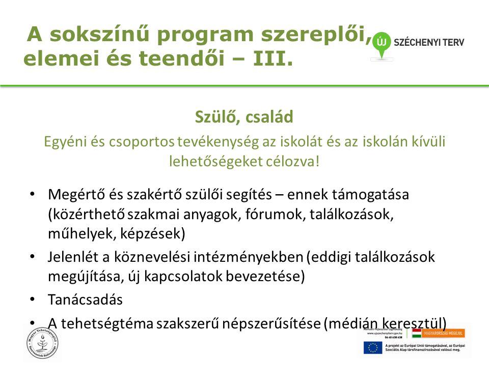 A sokszínű program szereplői, elemei és teendői – III.