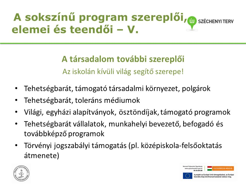 A sokszínű program szereplői, elemei és teendői – V.
