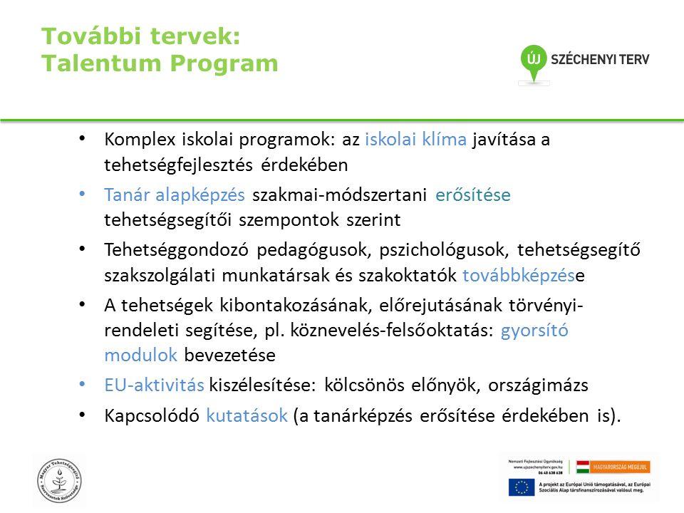 További tervek: Talentum Program Komplex iskolai programok: az iskolai klíma javítása a tehetségfejlesztés érdekében Tanár alapképzés szakmai-módszertani erősítése tehetségsegítői szempontok szerint Tehetséggondozó pedagógusok, pszichológusok, tehetségsegítő szakszolgálati munkatársak és szakoktatók továbbképzése A tehetségek kibontakozásának, előrejutásának törvényi- rendeleti segítése, pl.