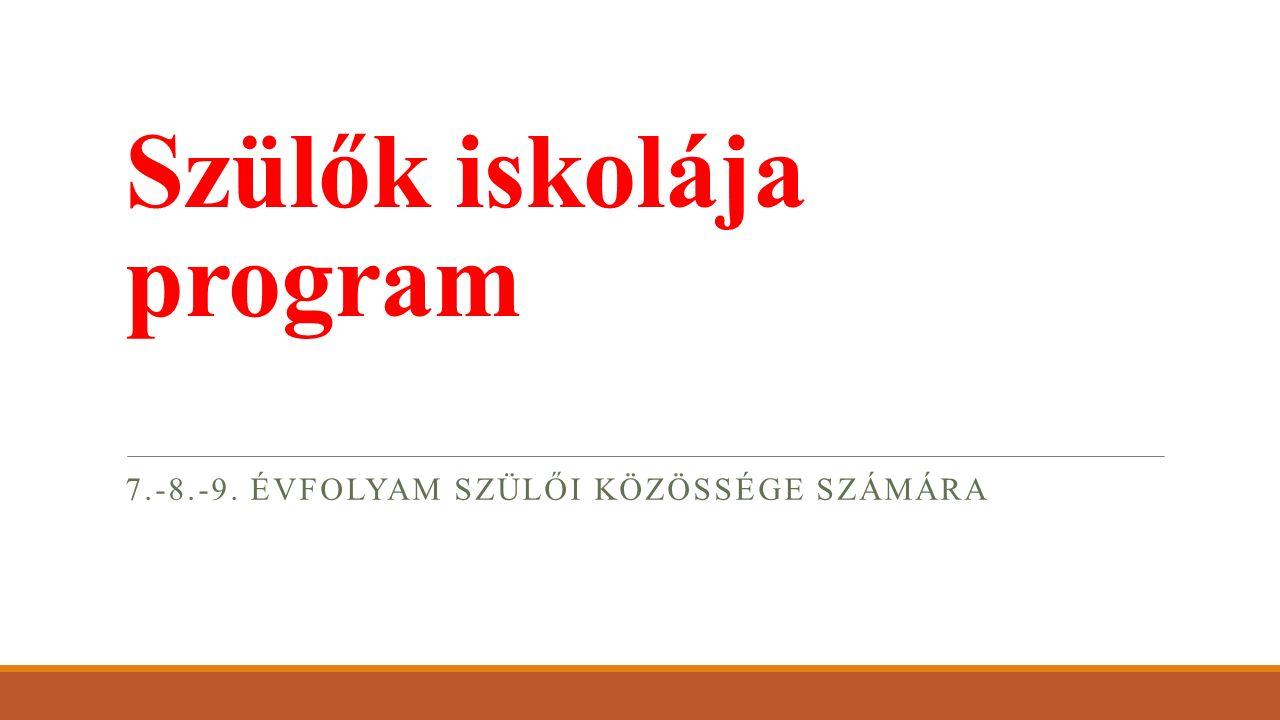 Szülők iskolája program 7.-8.-9. ÉVFOLYAM SZÜLŐI KÖZÖSSÉGE SZÁMÁRA