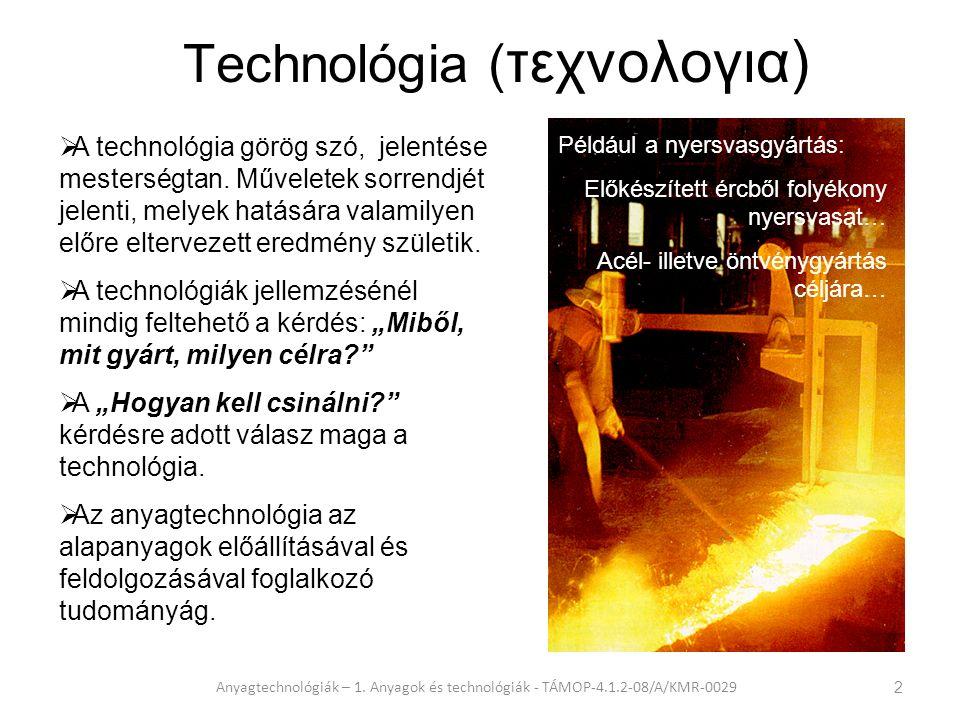 """A kőkorszaktól a """"polimer korszakig Anyagtechnológiák – 1."""
