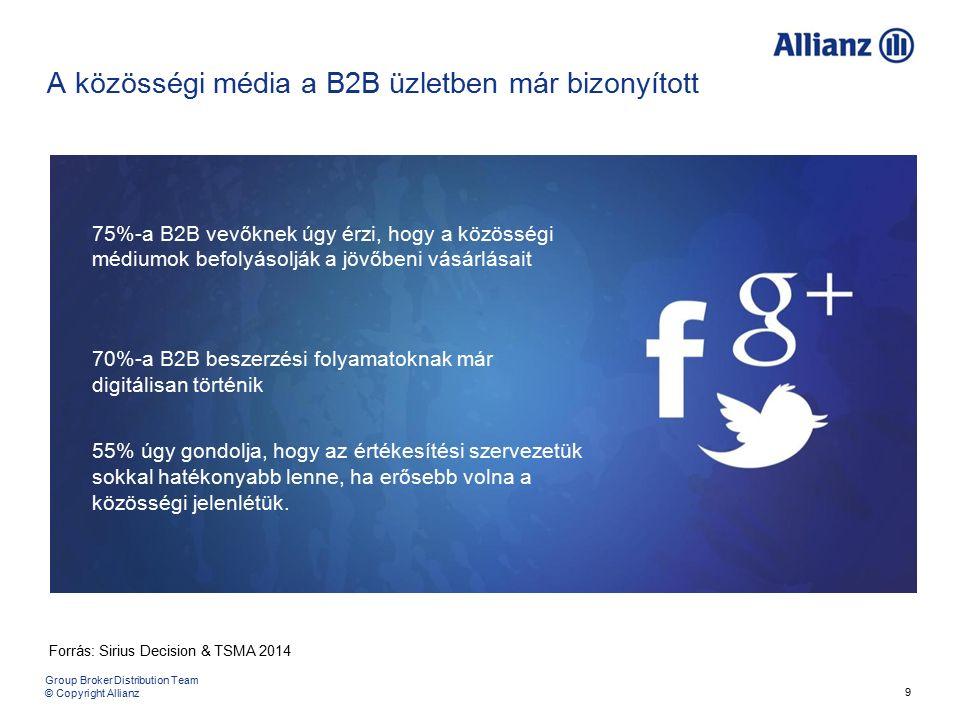 9 75%-a B2B vevőknek úgy érzi, hogy a közösségi médiumok befolyásolják a jövőbeni vásárlásait 70%-a B2B beszerzési folyamatoknak már digitálisan történik 55% úgy gondolja, hogy az értékesítési szervezetük sokkal hatékonyabb lenne, ha erősebb volna a közösségi jelenlétük.
